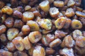Plantains sweetened with cinnamon, sugar & spices